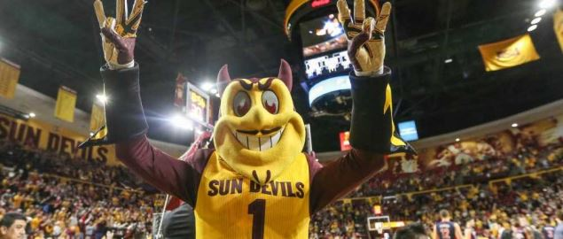 Sparky the Sun Devil donning a Sun Devils jersey at an ASU basketball game.