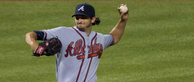 Andrew McKirahan pitching for the Atlanta Braves.