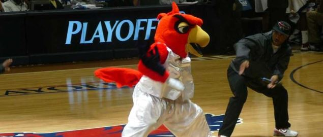 The Atlanta Hawks mascot, Harry the Hawk.