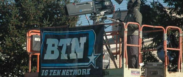 Big Ten Network's camera crew at a Ohio State v Penn field hockey tournament.