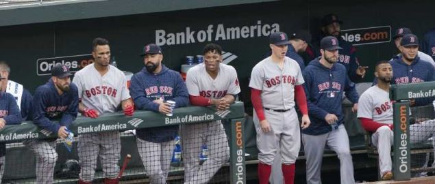 The Box Red Sox dugout during their game against the Baltimore Orioles.