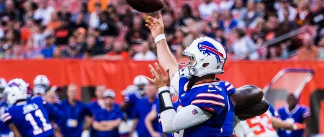 The Buffalo Bills quarterback passes the football during game.