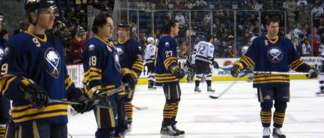 The Buffalo Sabres warming up before a game.