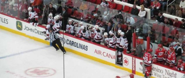 The Carolina Hurricanes bench during game against the New Jersey Devils.