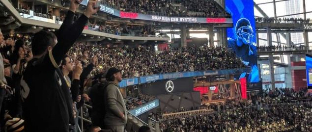 Crowd hearing at the Mercedes Benz stadium, site of the 2019 Celebration Bowl.