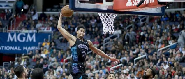 Jeremy Lamb of the Charlotte Hornets dunks against the Washington Wizards.