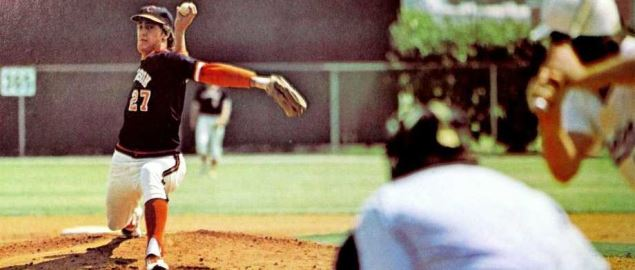 Chuck Porter pitching for Clemson in 1977.