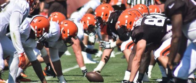 The Cleveland Browns at training camp.