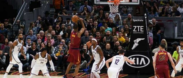 Rodney Hood of the Cleveland Cavaliers shoots the ball against the Brooklyn Nets.