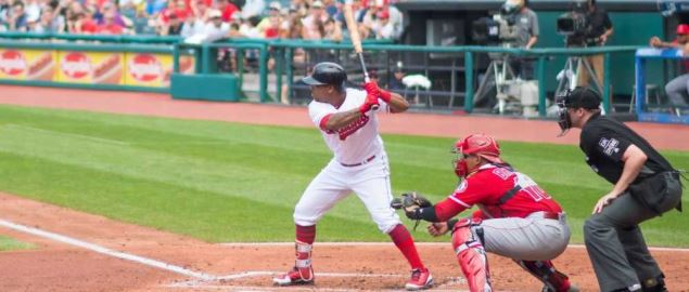 Jose Ramirez bats for the Cleveland Indians during a 2018 game at Progressive Field.