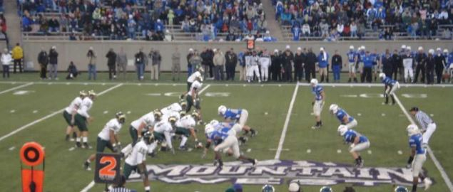 CSU is lined up in the shotgun formation against Air Force Academy.
