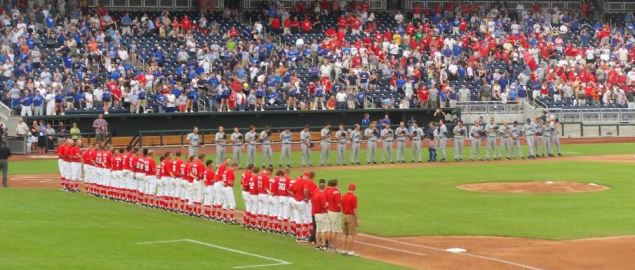 Creighton Bluejays and Nebraska Cornhuskers lined up for the national anthem in 2011.