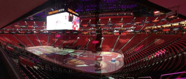 Inside view of the Detroit Red Wings Little Caesars Arena.