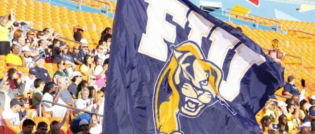 FIU Panthers flag and logo.