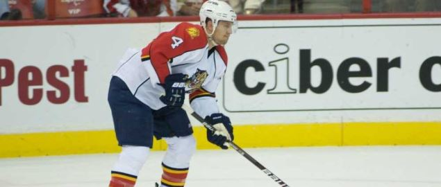 Florida Panthers player gets the puck during game against the Washington Capitals.
