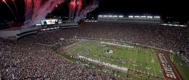 Fireworks at Florida State's home game at Doak Campbell Stadium.