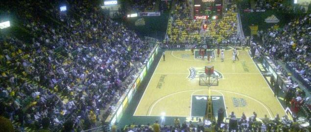 George Mason Patriots home court during game.