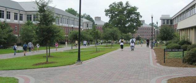 Georgia Southern campus on pedestrium looking towards Education and Nursing.