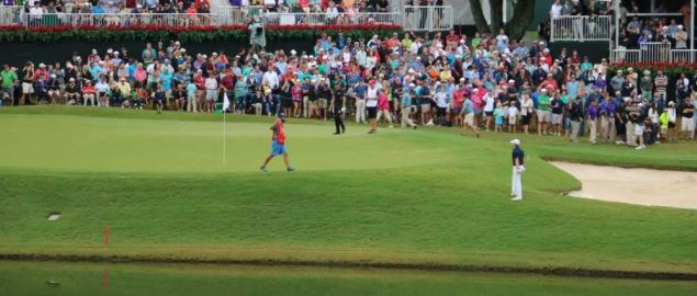 Jordan Speith and Henrik Stenson on the 17th Green during the 2015 TOUR Championship