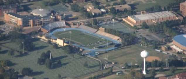 Aerial view of the campus of Hampton University.