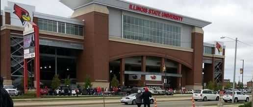 Illinois State's Hancock Stadium during the homecoming game in 2014.