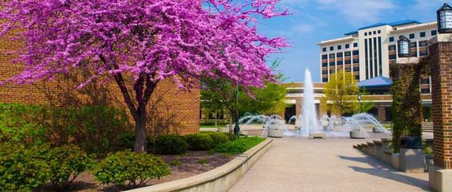 The fountain at Dede Plaza on the campus of Indiana State University.