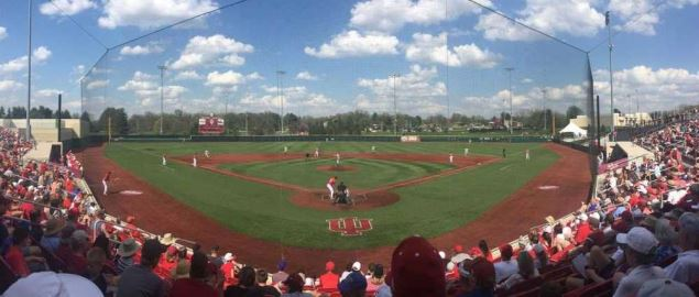 Indiana Hoosiers during a home game at Bart Kaufman Field in 2017,