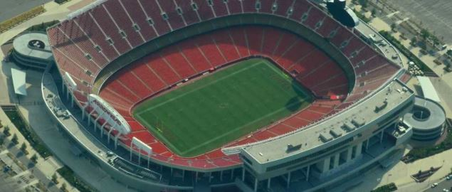 Aerial view of Arrowhead Stadium, home of the Kansas City Chiefs.