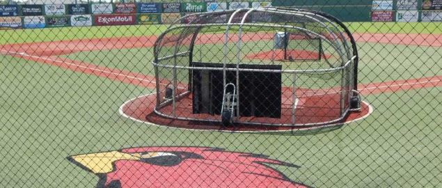Lamar baseball's Vincent-Beck infield with batting practice equipment.