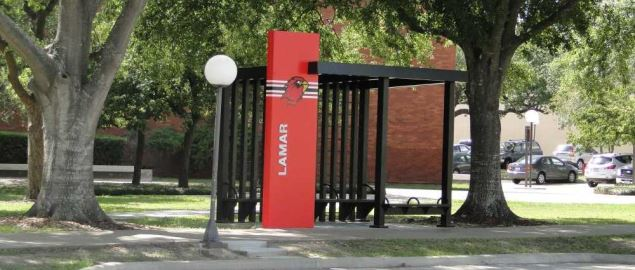Lamar bus stop near the Cherry Engineering building on Rolfe Christopher Dr.