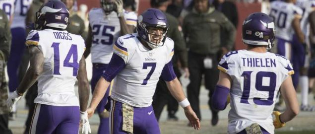 The Minnesota Vikings celebrate a touchdown against the Washington Redskins.