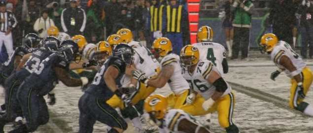 Packers on offense during a Monday Night football game against seattle seahawks