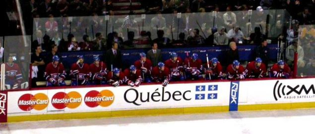 Bench of the Montreal Canadians during a game.