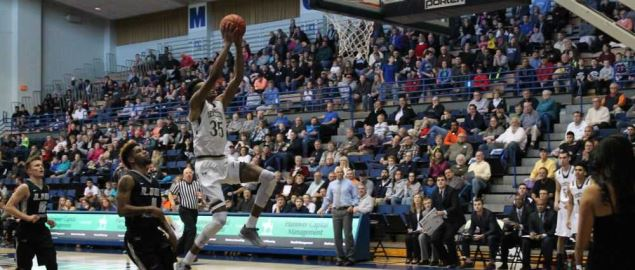 Mount St. Mary's takes a shot during a Northeast Conference game against LIU-Brooklyn.