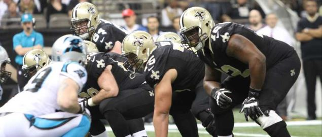 New Orleans Saints line up against the Carolina Panthers.