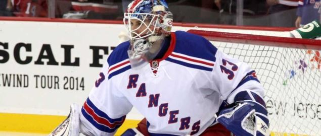 The New York Rangers goalie preparing to defend the goal.