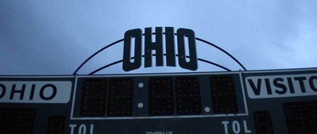 The scoreboard at Goldsberry Track and Pruitt Field on Ohio University's campus.