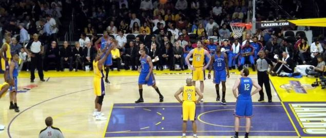 Andrew Bynum shoots a free throw in a playoff game against the Thunder.