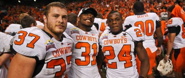 Oklahoma State running backs Bryant Ward, Jeremy Smith, and Kendall Hunter of 2010 season.