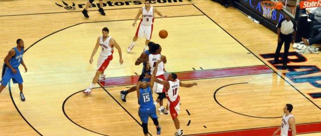 The Orlando Magic shooting the ball during game against Toronto Raptors.