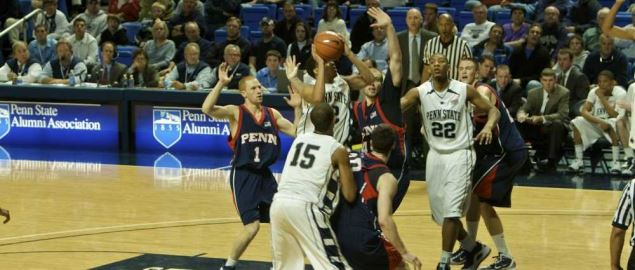 Penn State attempting to shoot the ball during game against the Penn Quakers.