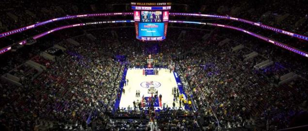 Philadelphia 76ers playing at the Wells Fargo Center vs. the LA Lakers.