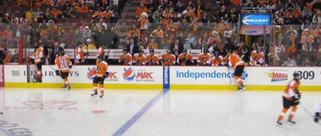 The Philadelphia Flyers bench during game at the Wells Fargo Center.