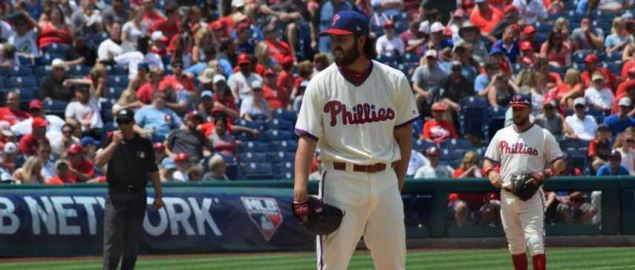 Austin Davis on the mound for the Philadelphia Phillies.