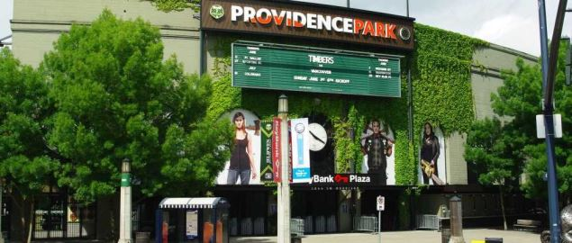 Main entrance to Providence Park, where the Portland State Vikings play.