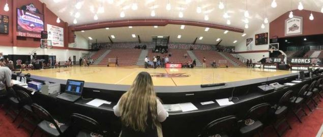 A panoramic shot of the interior of Alumni Gymnasium on the campus of Rider University.