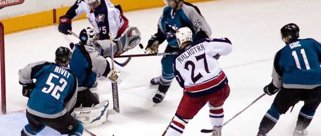 Goal action during the San Jose Sharks vs. Columbus Blue Jackets game.