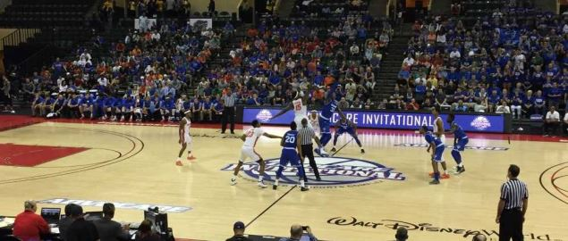 Tip off at the Seton Hall vs. Florida Gators game.