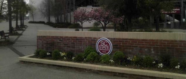The sign at a get to South Carolina State University near Oliver C. Dawson Stadium.