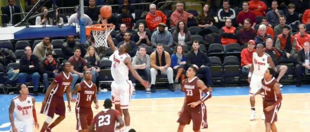 St. John's Red Storm makes a lay-up at Madison Square Garden against Fordham.